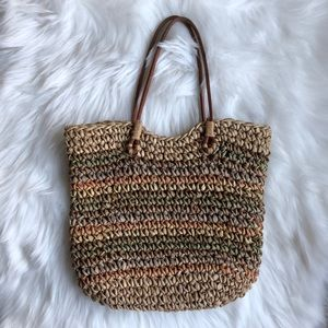 Vintage Straw and Leather Handbag